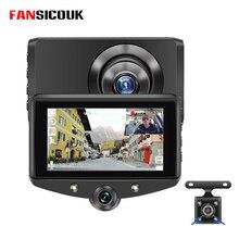 Mini voiture DVR 3 caméras 4 IPS   1080P, caméra arrière HD, tableau de bord, caméra denregistrement, boucle de caméra, moniteur de stationnement, vidéo, caméra USB,