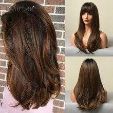 Parrucche sintetiche dritte lunghe per donne nere Ombre nero marrone scuro parrucche per capelli naturali con frangia resistente al calore quotidiano