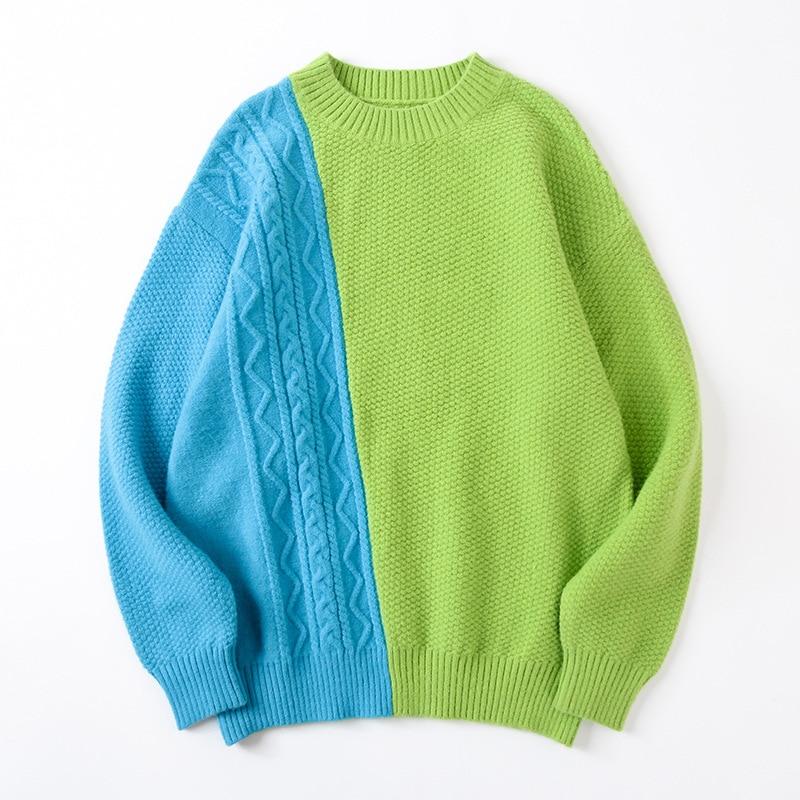 Мужской Свитер оверсайз, пуловеры в стиле пэчворк, мужской брендовый свободный свитер унисекс с круглым вырезом и открытыми плечами