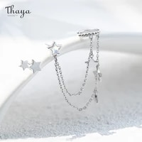 thaya silver color star dangle earring for women with chain light purple crytals earrings high quality elegant fine jewelry