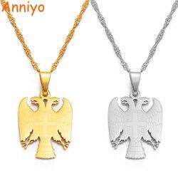 Anniyoc república da sérvia águia pingente colares para mulher masculino cor prata/cor do ouro srbija jóias sérvio presentes #158021