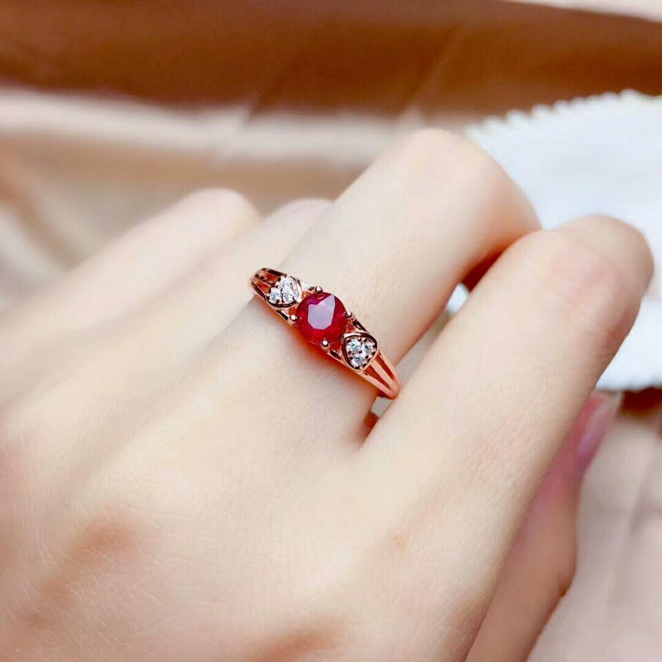 Meibapj real natural novo queimado rubi pedra preciosa moda anel para as mulheres real 925 prata esterlina fina jóias de casamento