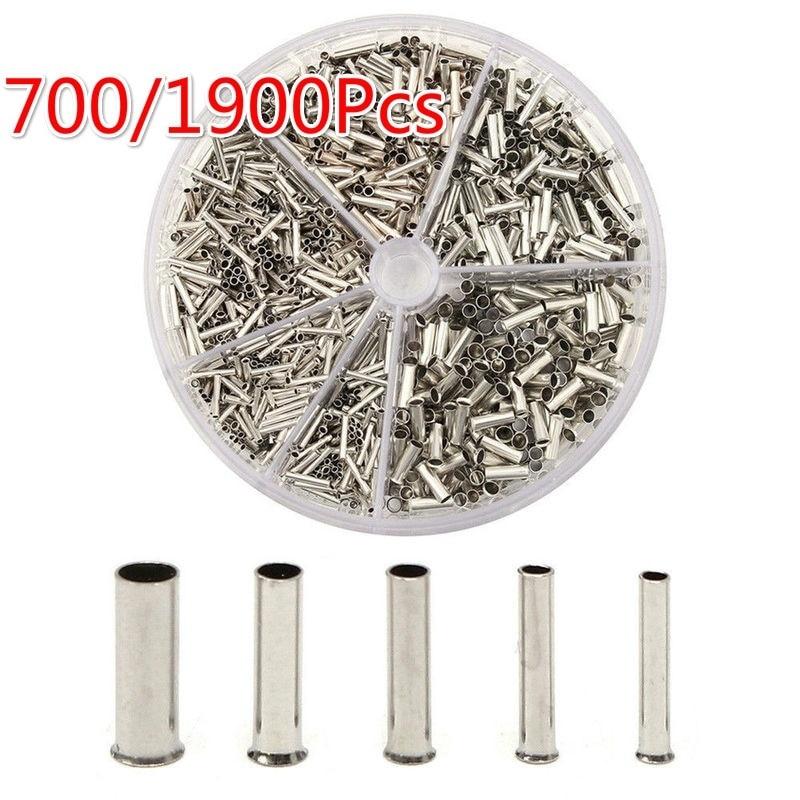 1900 pçs/caixa virola friso loop kit multi-tamanho virolas cabo não-isolado talões fio extremidade mangas virolas sortimento
