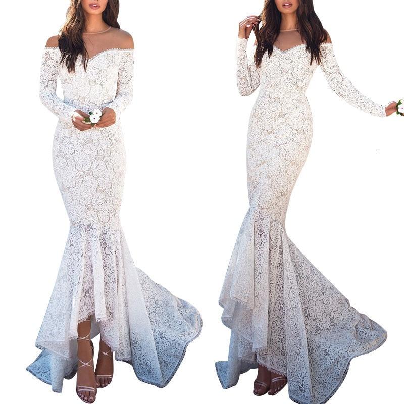 BacklakeGirls 2019 Sexy V Neck Off Shoulder Long Sleeve White Lace Evening Dress Little Mermaid Dress Robe Soiree Sirene