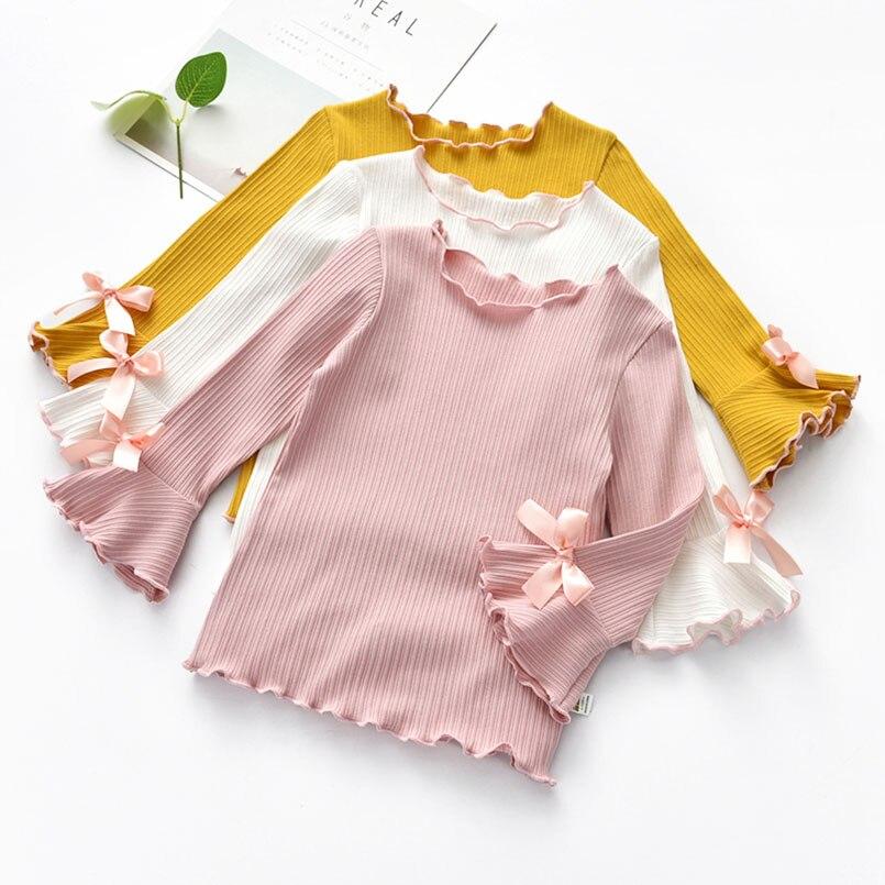Sweet ribbon bowknot girls shirt fall flare sleeve infant kids blouse for girls tops children jackets outwear kzlar bluz