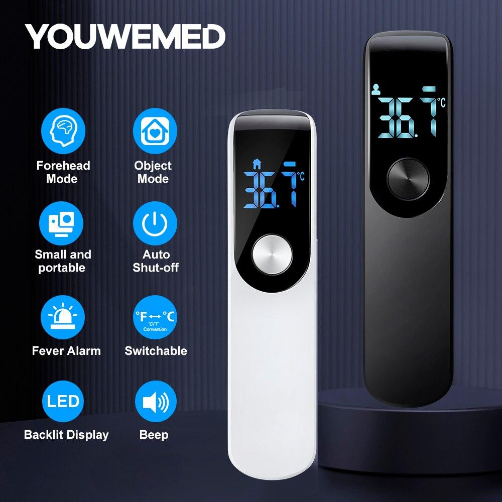 Цифровой инфракрасный термометр YouWeMed для лба и ушей, Бесконтактный медицинский термометр для тела, инфракрасный термометр с ЖК-дисплеем для взрослых и детей