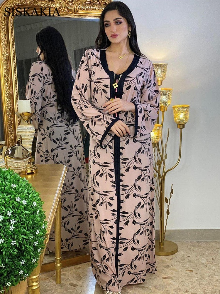 Рамадан ИД Мубарак хиджаб платье для женщин мода мусульманский этнический цветочный джалабия Дубай Турция марокканский кафтан арабский Ом...