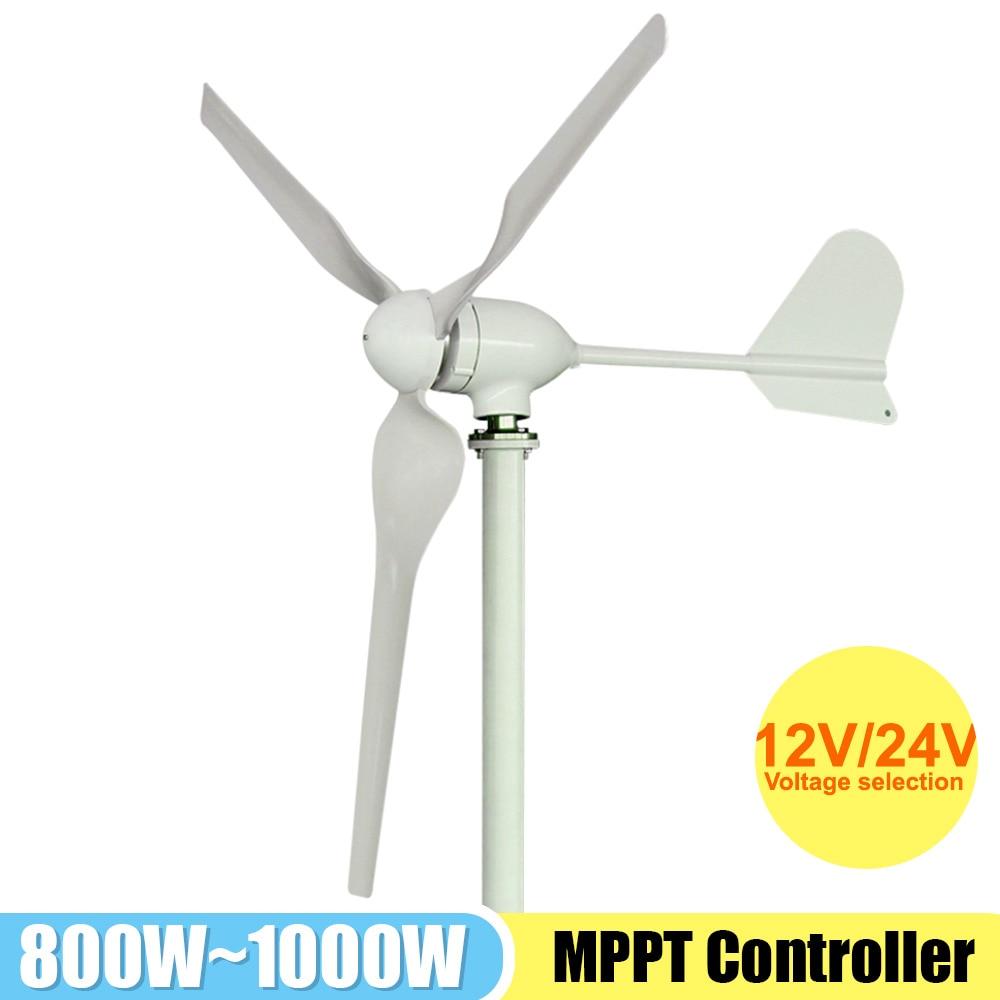 مولد طاقة للرياح 48 فولت مولد طاقة 12 فولت/24 فولت طواحين الهواء 1000 وات مولد طاقة بديلة مع وحدة تحكم MPPT للمنزل