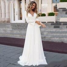 White Simple Wedding Dress Long Sleeve 2020 Boho Bridal Gown V-Neck Long Bride Dresses Plus Size Vintage Bohemian Appliqued Back