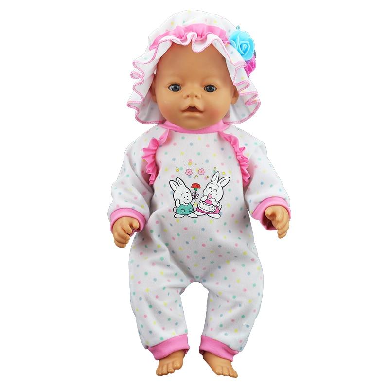 Urodził się nowe ubrania dla lalki Fit 18 cal 40-43cm lalka biała czapka czerwony kolor wstążki sukienka garnitur akcesoria do prezent dla dzieci