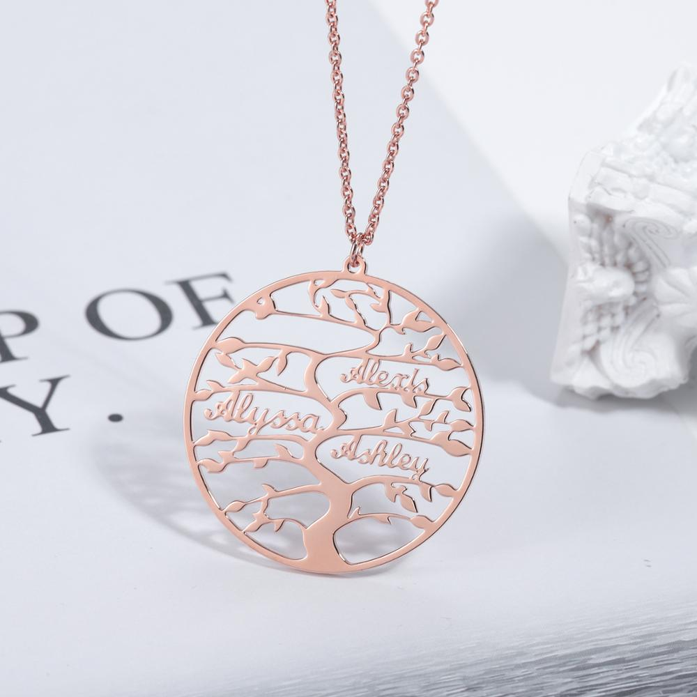 Personalized Tree Of Life Custom Name Necklace Stainless Steel Golden Family Tree Women Letter Necklace Jewelry Couple Gifts недорого