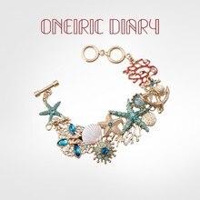 ONEIRIC DIARY Fashion Starfish Coral Shell Bracelet Charms Bracelet Colorful Cystal Rhinestone for W