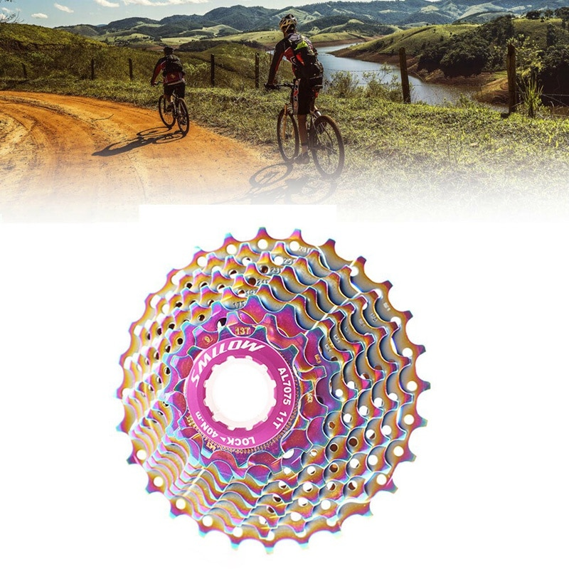 Casete de bicicleta de carretera SMLLOW, volante ultraligero de bicicleta 11-28T 9 velocidades colorido para bicicleta de carretera MTB BMX