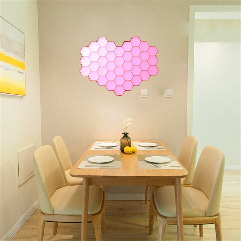 Modern Nordic Remote Colorful Quantum Light Running lamp Modular Hexagonal LED Color changing Lighting Indoor Decor Night Light enlarge