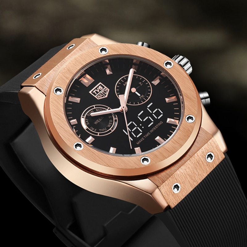 2021 TVG Top Brand Luxury Rose Gold Watches Men Sports Watches Dual Display Quartz Wristwatches Multifunction Clock Reloj Hombre stryve brand man military watches large dial waterproof dual display quartz digital clock men luxury sports watch reloj hombre