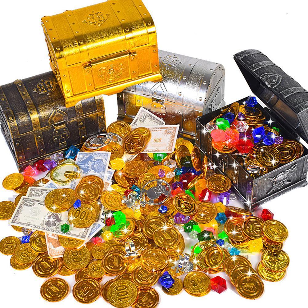 Caixa de tesouro retro com bloqueio brinquedos para festa favores adereços decoração pirata tesouro baú para crianças