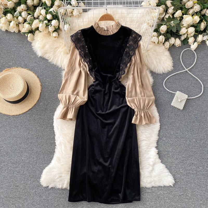 cami velvet vintage loose dress Vintage Lace stitching dress feminine stand collar foreign style aging medium and long velvet A-line skirt woman dress