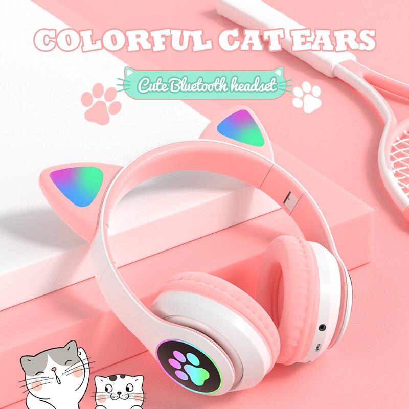 Oreja de Gato auriculares inalámbricos Bluetooth 5,0 RGB auriculares bajo ruido cancelación...