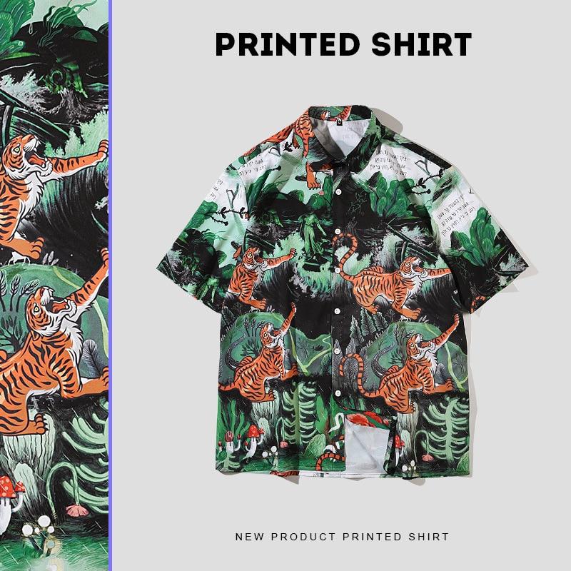 2021 Summer Fashion Jungle Tiger Print Men's Hawaiian Shirts Japanese Harajuku Loose Casual Beach Shirts Short Sleeve Clothing
