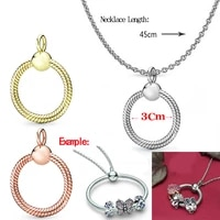 basic snake chain circle pendant fit original pan charms bracelets gold chains rings necklace for women jewelry making diy beads