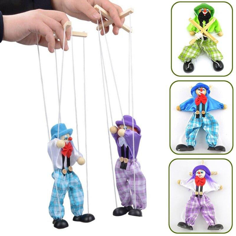 Nueva y divertida marioneta de cuerda de colores, payaso, Marionette de madera, juguetes artesanales, muñeca de actividad conjunta, juguetes de regalo para niños