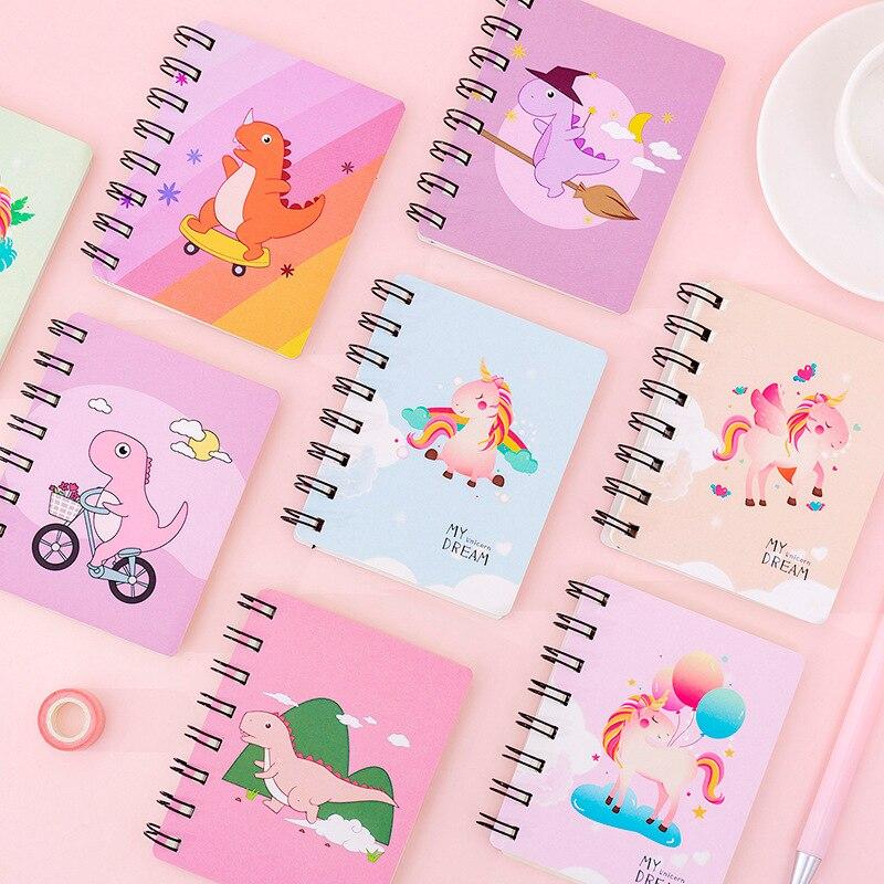 Cuadernos de espiral de unicornio Kawaii A7, cuadernos de notas de 2020, adorable cuaderno de dinosaurio para dibujar, proveedor de material de papelería coreano para escuela
