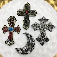 manual embroidery rhinestonemooncross patches crystal beaded appliquesfor sewn on dress shoe jean jacketdiy accessories badges