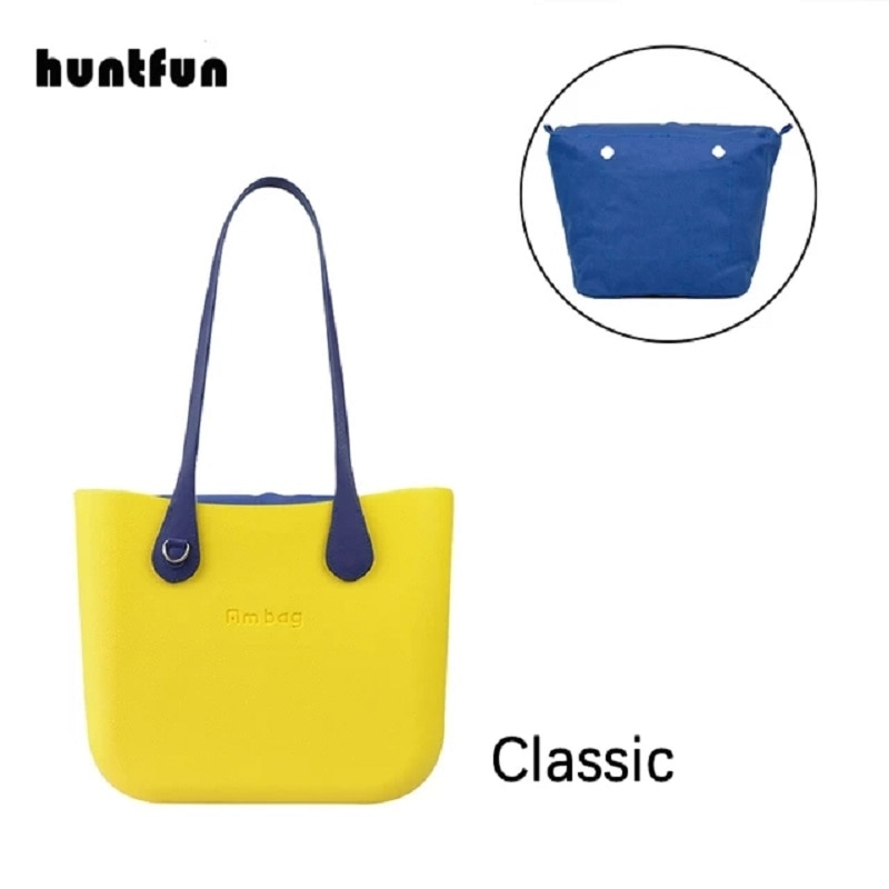Classic Ambag Obag O Bag Style DIY Big with Zip-Up Canvas Inner Colorful Long PU Leather Handles Wom