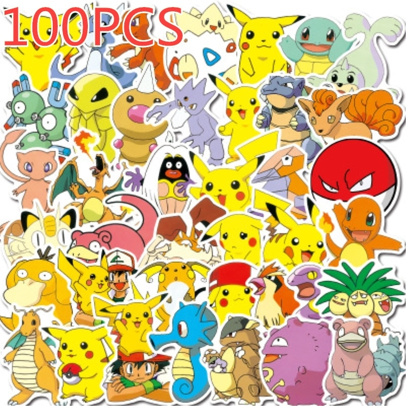 40/50/100 Pcs Pokemons Stickers For Luggage Skateboard Phone Laptop Moto Bicycle Wall Guitar Sticker DIY Waterproof Sticker