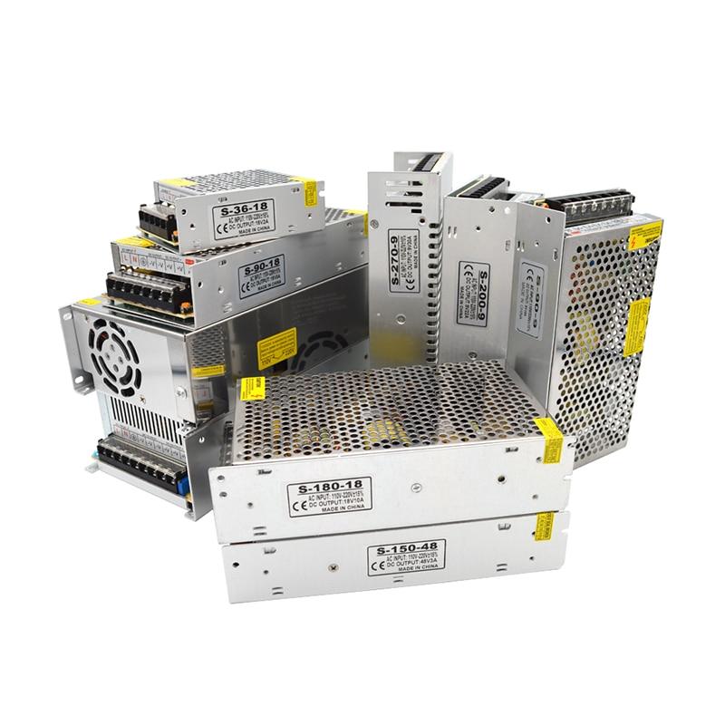 Fuente de alimentación AC DC 9V 18V 48 V transformadores de iluminación Led 2A 3A 5A 10A 20A 30A Fonte transformador 220V a 9 18 48 voltios Smps para LED