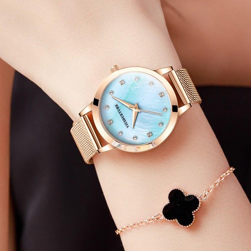 New genuine musical note ladies high sense watch non-mechanical ladies student watch diamond steel belt waterproof female watch enlarge