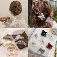 woman transparent hair claws hair accessories chic barrettes hairclips hairpins ladies hairgrip headwear girls ornaments crab