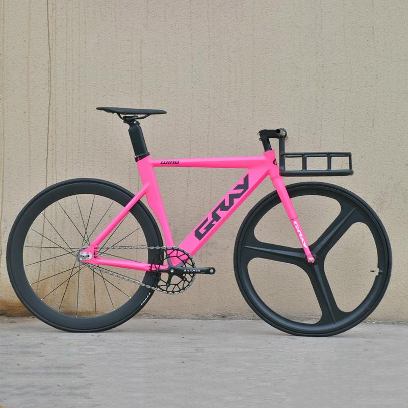 رمادي دراجة بسرعة ثابتة 48 سنتيمتر 52 سنتيمتر 55 سنتيمتر دراجة بسرعة واحدة إطار من سبيكة الألمنيوم المسار دراجة 700C 3/4 المتحدث سباق عجلة V الفرامل