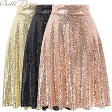 Belle poque mujeres lentejuelas sólido sexy Falda midi plisada una línea femenina básica alta cintura casual moda Faldas mujer 2019