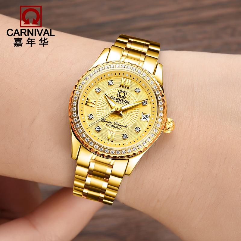 New Switzerland Carnival Luxury Brand Watch Women Automatic Mechanical Watches Sapphire Diamond Gold Women's Watches Reloj Mujer enlarge