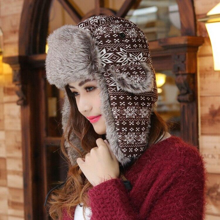 Warm Bomber Hats Plush Earflap Russian Hat Women Ear Flap Winter Hat Faux Fur Windproof Cycling Skii