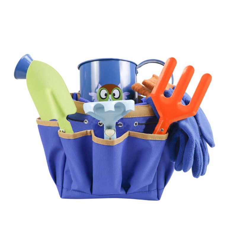 Kids Gardening Tools Set Shovel Harrow Rake Watering Can with Tote Bag Children Mini Garden Toys