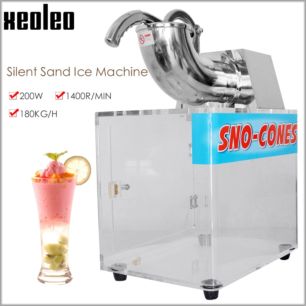 Trituradora de hielo comercial XEOLEO, máquina de hielo copo de nieve, máquina automática de doble hoja, máquina de afeitar, máquina de hacer conos de nieve de hielo, máquina de SNO-CONES de 200W