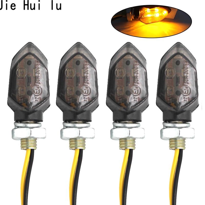 4PCS Mini Motorcycle Smoke Lens Turn Signal Light 5LED 12V Amber Blinker Indicator Lamp Two Wire