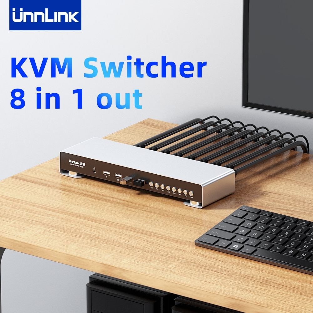 Unnlink KVM Switch 4K 30Hz 8 in 1 Out HDMI-compatible Splitter 8 PCs Computer Sharing 1 Set of Monitor Mouse Keyboard 2021 New