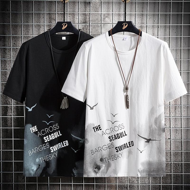 T-shirt d'été pour hommes 2021 nouvelle marque tendance tendance coton décontracté à manches mi-longues vêtements Coréennes en vrac compatissant