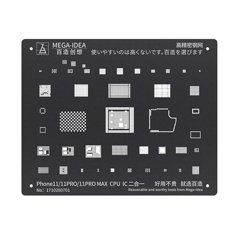 MEGA-IDEA BGA Reballing Stencil Kit For IPhone 11 11Pro XS XS MAX XR X 8P 8 7P 7 6S 6 CPU IC Chip Tin Planting Soldering Net 10pcs 1608a1 1610a1 1610a2 1610a3 610a3b 1612a1 for iphone 5g 5s 5c 6 6p 6s 6splus 7g 7p 8 8p x u2 charger ic usb charging chip