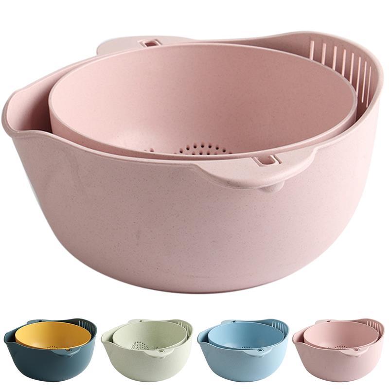 Juego de tazones colador/colador de cocina práctico 2 en 1 recipiente colador de vegetales utensilios de cocina