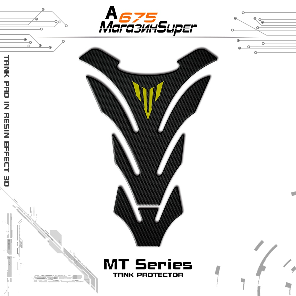 3Colour 3D Carbon Look Motorcycle Tank Pad Protector Decal Stickers Case for Yamaha MT01 MT03 MT09 MT10 MT-09 Tank Sticker