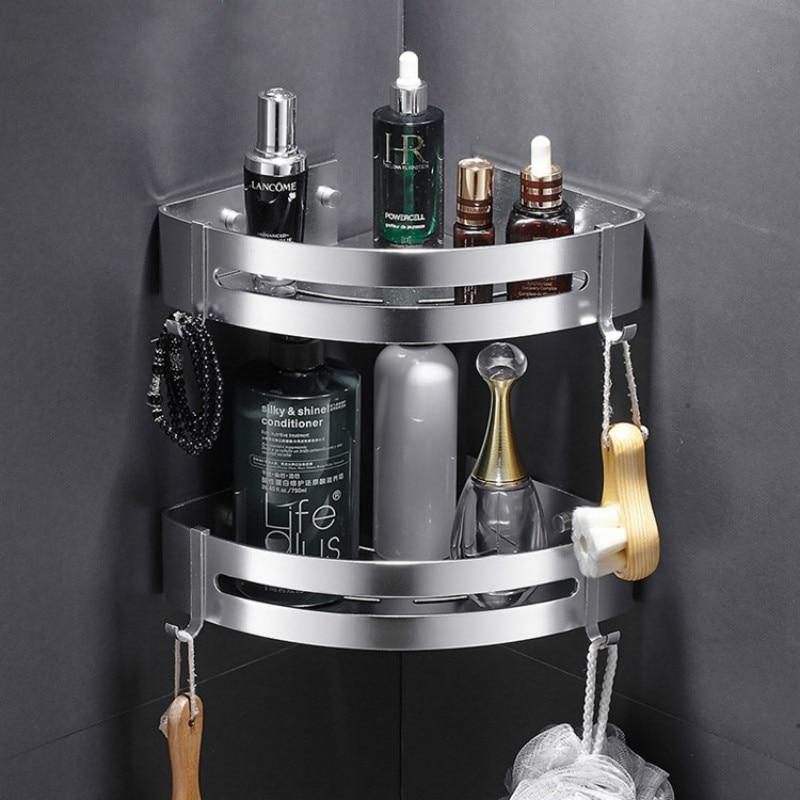Estantes de baño esquina estante de pared montado en aluminio baño jabonera baño ducha estante baño champú soporte montado en la pared tipo