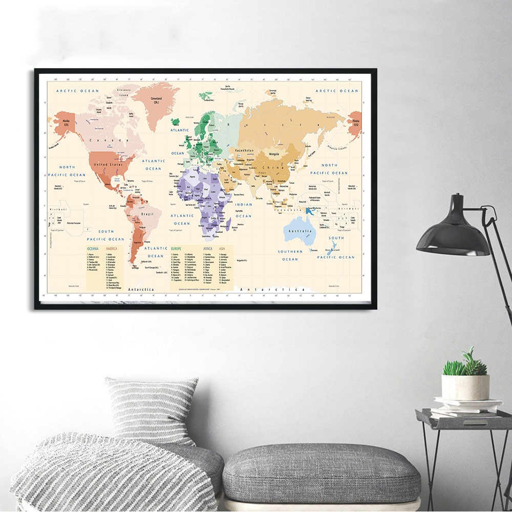 90*60cm The World Map Eco-friendly Canvas Painting Retro Decor Wall Art Poster High Quality Card  Living Room Home Decoration