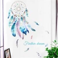 Autocollants muraux attrape-reves en plumes a la mode  decoration pour la maison  le salon  la chambre de bebe  la chambre de fille