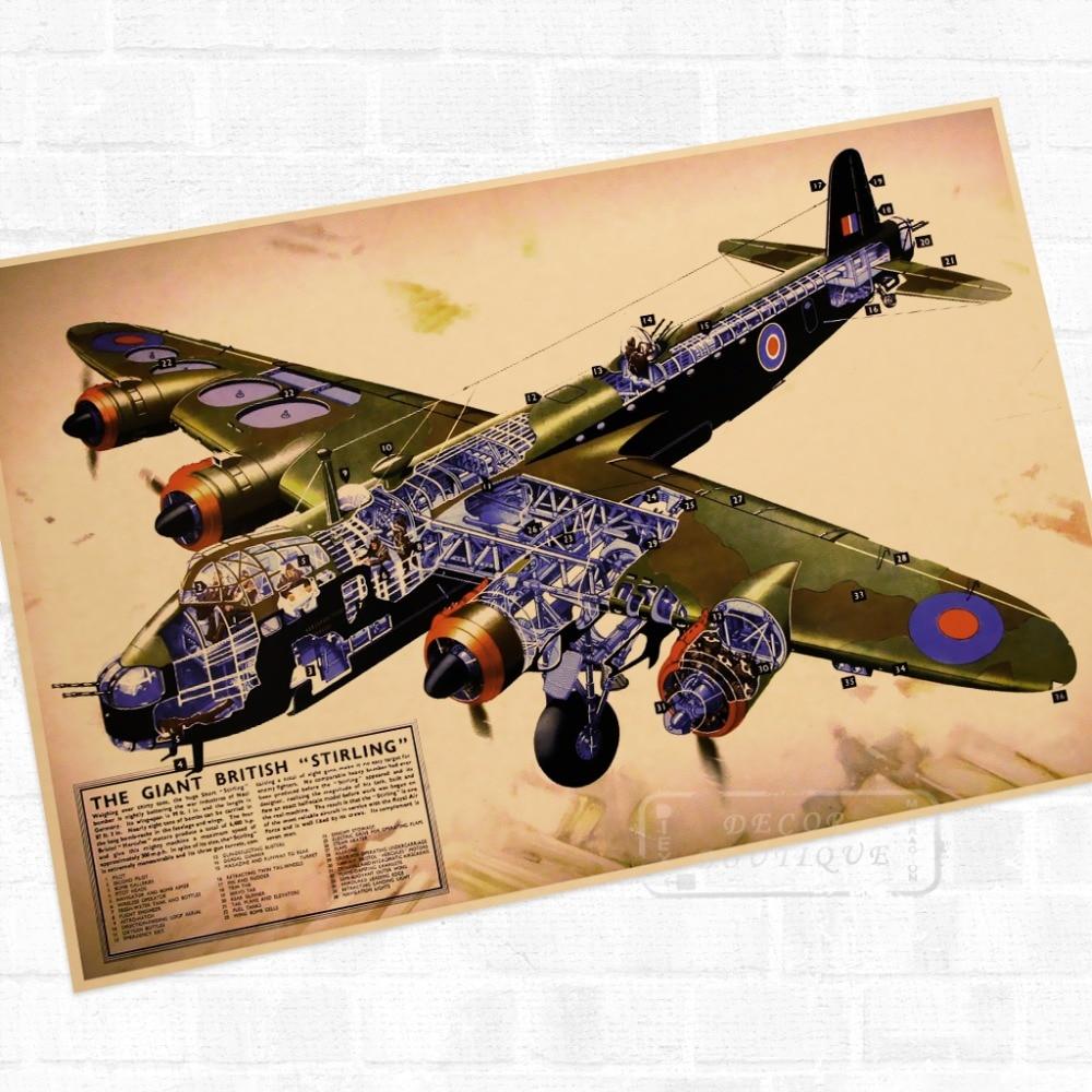Gigante británico Stirling guerra WWII WW2 Propaganda Retro Vintage de póster de lona DIY pegatinas de pared pósteres casa Decoración Para Bar