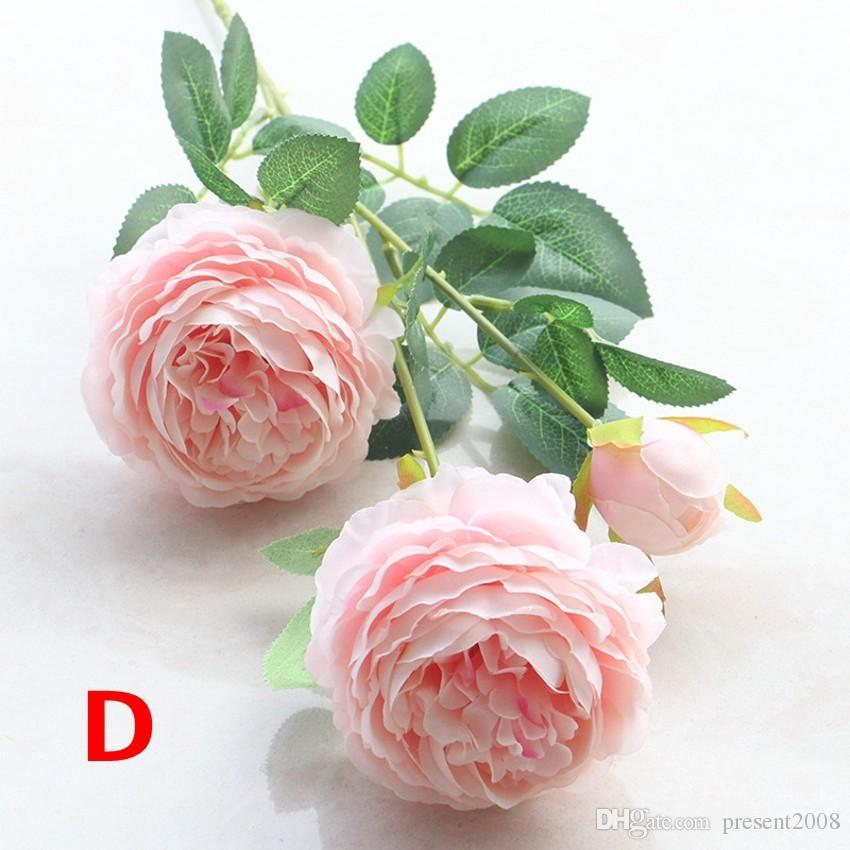 1 ramo de 3 cabezas peonía flores artificiales peonías Flor de seda ramo de boda decoración de otoño vívido falso flores decoración del hogar