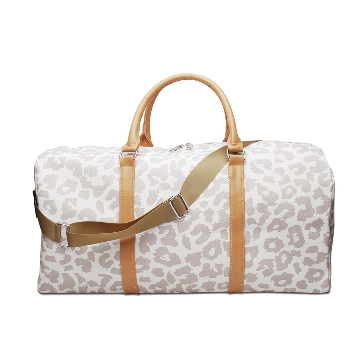 Retail PU Leopard Weekender Bag Cheetah Duffle Tote DOM1131065 Larege Travel Bag with Shoulder Strap